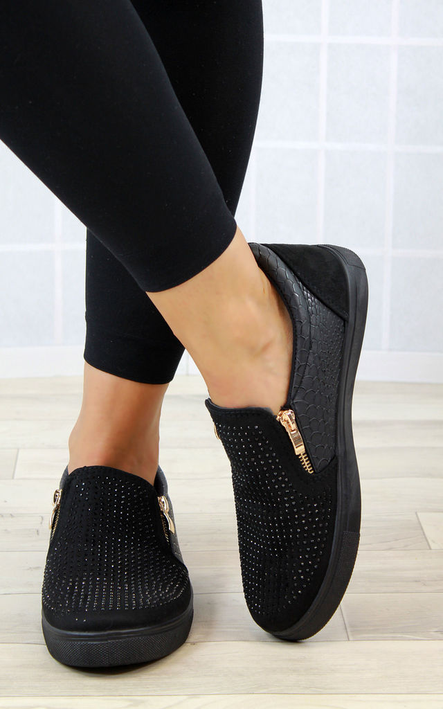 Black Zip Diamante Casual Pumps by Larena Fashion