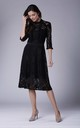 High Neck Lace Midi Dress with 3/4 Sleeves in Black by Bergamo