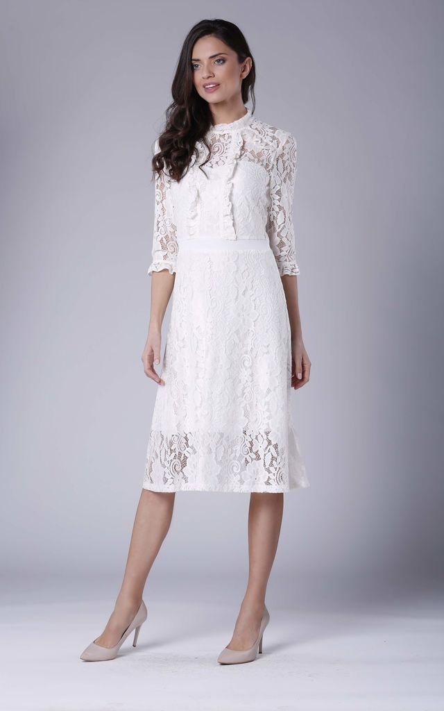 High Neck Lace Midi Dress with 3/4 Sleeves in White by Bergamo