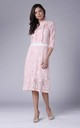 High Neck Lace Midi Dress with 3/4 Sleeves in Light Pink by Bergamo