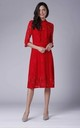 High Neck Lace Midi Dress with 3/4 Sleeves in Red by Bergamo