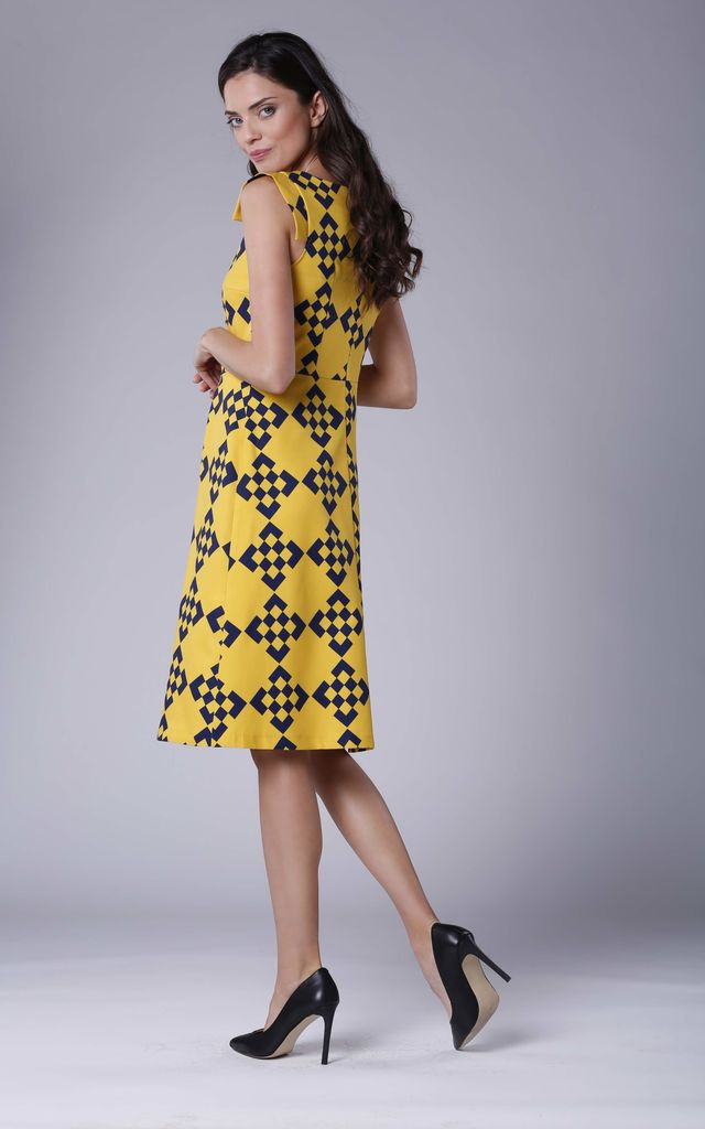 Yellow A-line Midi Sleeveless U-Neck Dress by Bergamo