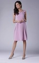Pink A-line Midi Sleeveless U-Neck Dress by Bergamo