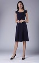 Navy Blue A-line Midi Sleeveless U-Neck Dress by Bergamo