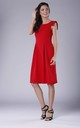 Red A-line Midi Sleeveless U-Neck Dress by Bergamo