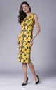 Yellow Fitted Sleeveless Round Neck Dress by Bergamo
