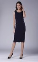 Navy Blue Fitted Sleeveless Round Neck Dress by Bergamo