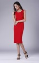 Red Fitted Sleeveless Round Neck Dress by Bergamo