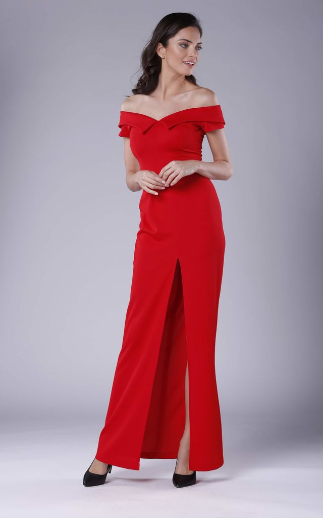 b95b698ba70 Red Off The Shoulder Maxi Evening Dress | Bergamo | SilkFred