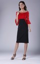 Black And Red Lace 3/4 Sleeve Midi Dress by Bergamo