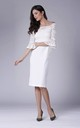Midi dress with flared lace sleeve in white by Bergamo