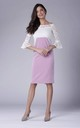 midi lace dress with pink pencil skirt by Bergamo