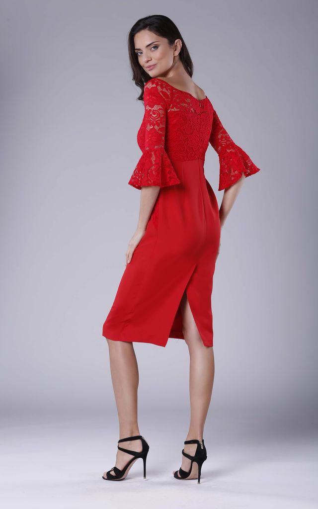 Red Lace 3/4 Sleeve Midi Dress by Bergamo