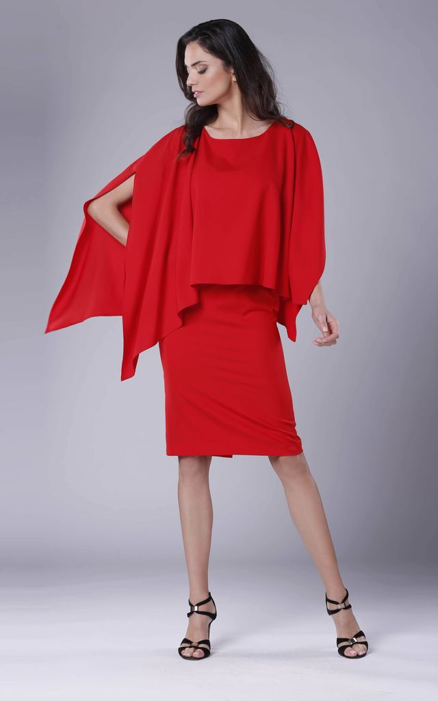 251efb032df Red Two Layers Batwing Round Neck Dress | Bergamo | SilkFred
