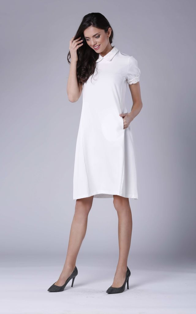 Collared dress with side pocket in white by Bergamo