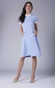 Blue Short Sleeve Lace Collar Side Pockets Dress by Bergamo