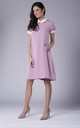 Pink Short Sleeve Lace Collar Side Pockets Dress by Bergamo