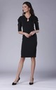 Black Midi Dress with Ruched Sleeves by Bergamo