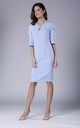 Light Blue Midi Dress with Ruched Sleeves by Bergamo