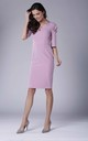 Light Pink Midi Dress with Ruched Sleeves by Bergamo