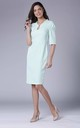 Mint Green Midi Dress with Ruched Sleeves by Bergamo