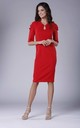Red Midi Dress with Ruched Sleeves by Bergamo