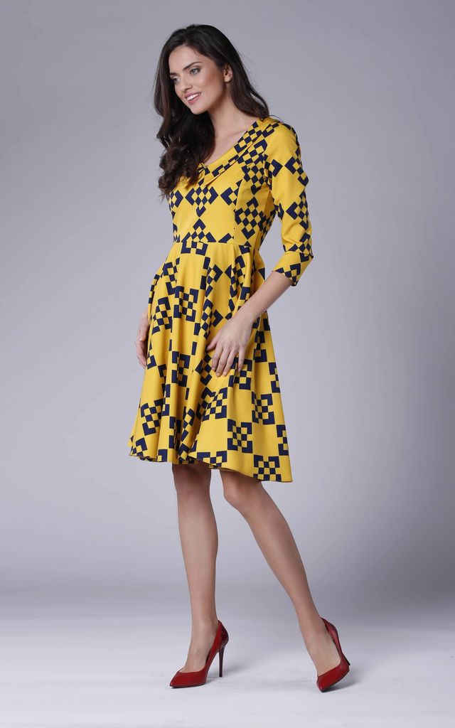 ... Yellow Geometric 3 4 Sleeves Flared Dress by Bergamo ... 027fc71a4