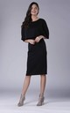 Black Batwing Fitted Midi Dress by Bergamo