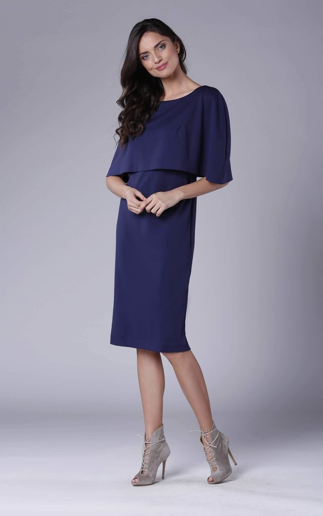 Navy Blue Batwing Fitted Midi Dress by Bergamo