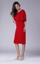 Red Batwing Fitted Midi Dress by Bergamo