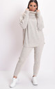 Knit roll neck loungewear co ord jumper set beige by LILY LULU FASHION