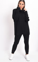 Knit roll neck loungewear co ord jumper set black by LILY LULU FASHION