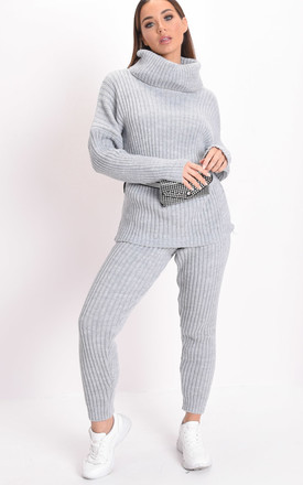 Knit roll neck loungewear co ord jumper set grey by LILY LULU FASHION