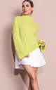 Cropped knitted turtleneck jumper green by LILY LULU FASHION