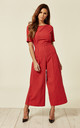 Bianca Stripe Jumpsuit in Red by Traffic People