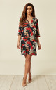 Navy and Red Floral Millie Shift 3/4 Sleeve Dress by Traffic People