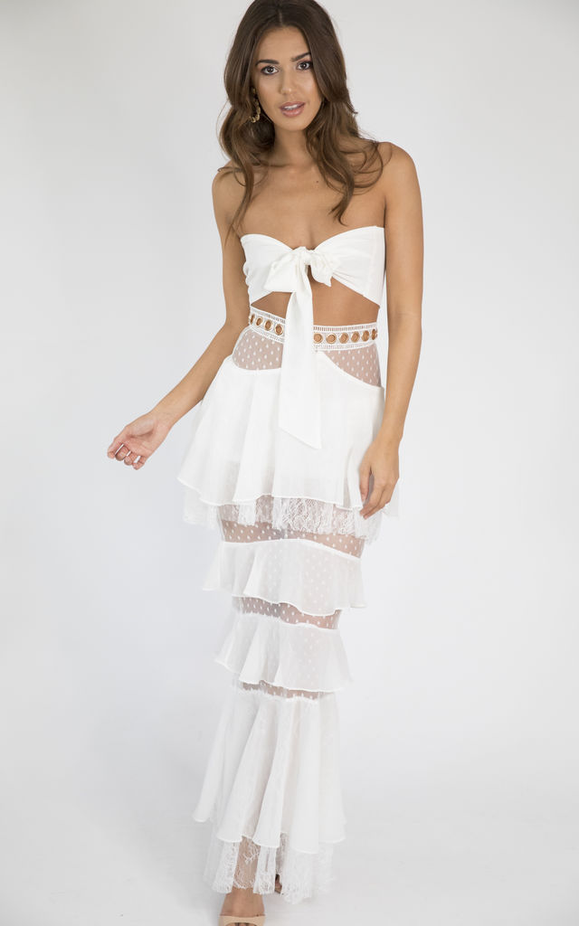 Maya White Two Piece Bandeau Multi Way Top And Skirt Co Ord Set By House of Gigi