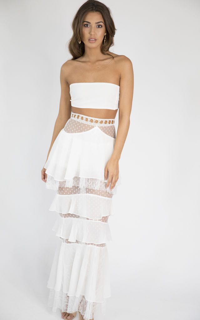 MAYA White two-piece bandeau multi-way top and skirt co-ord set by House of Gigi