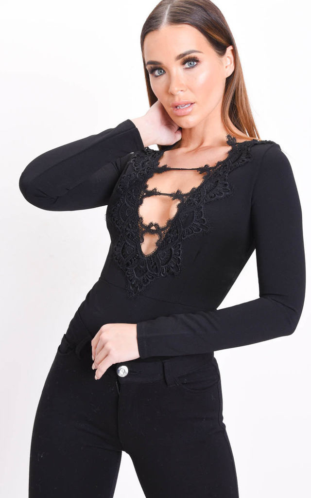Crochet Lace Plunge Long Sleeve Bodysuit Black by LILY LULU FASHION