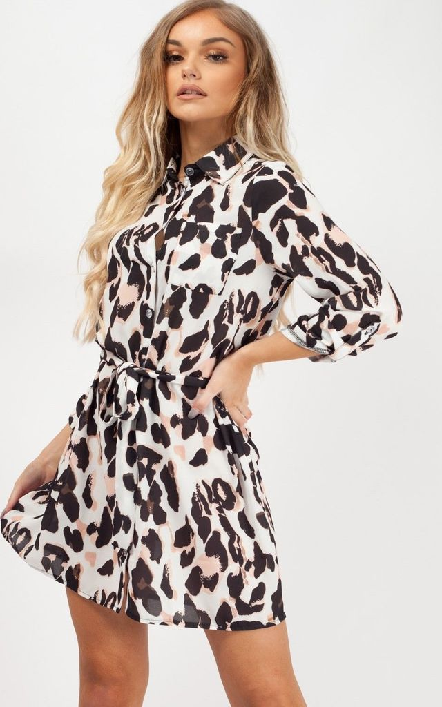 376c5222ac02 Cora Leopard Print Shirt Dress In Cream | Vivichi | SilkFred