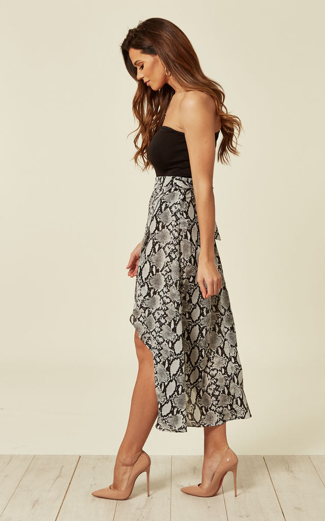 Wrap Over Snake Print Midi Skirt by Oeuvre