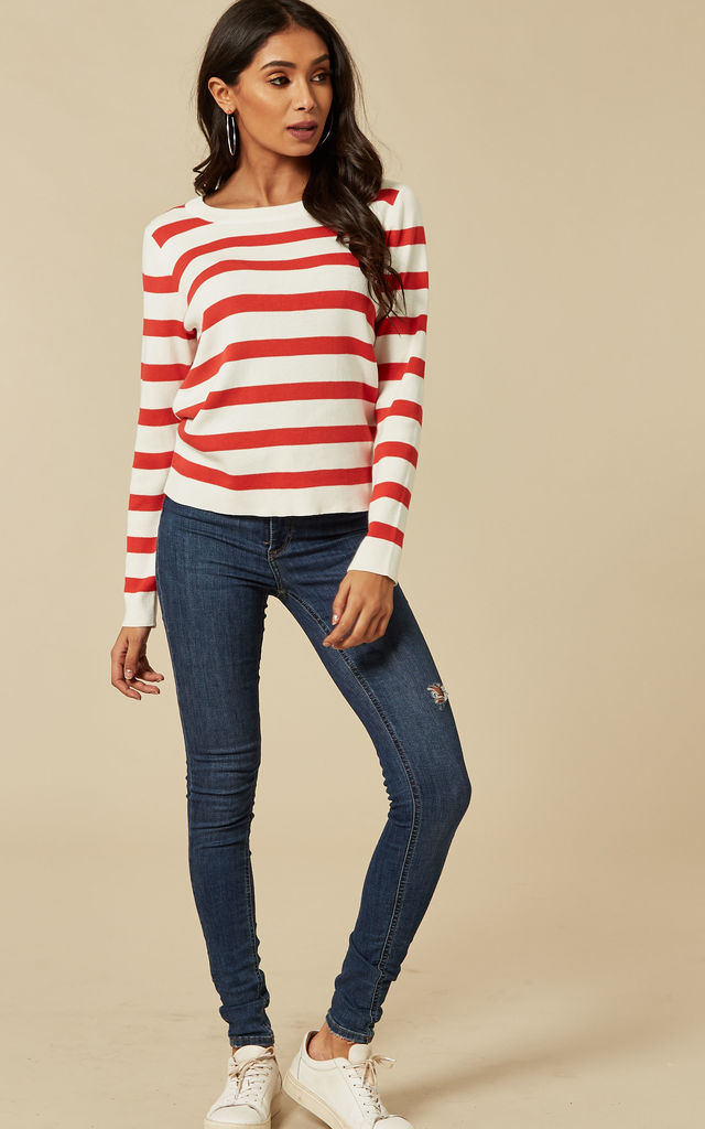 Poppy Red With Snow White Stripe Knitted Top by Selected Femme