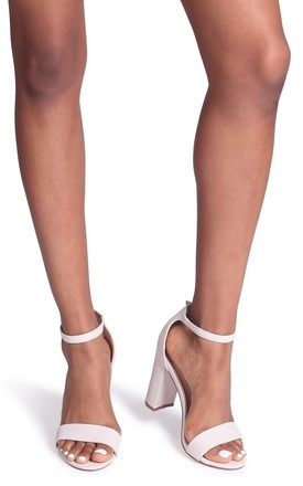 Nelly Barely There Block Heels in Cream Glitter Suede by Linzi