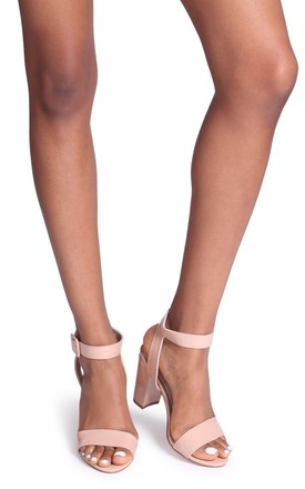 Millie Nude Patent Open Toe Block Heel With Ankle Strap And Buckle Detail by Linzi
