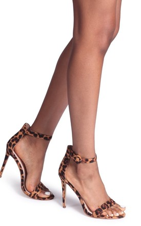 Nena Leopard Suede Barely There Heel by Linzi