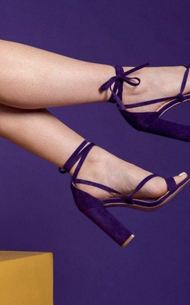 Layla Lace-Up Block Heels in Purple Faux Suede by Poised London