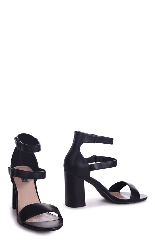 Black Louise Nappa Block Heeled Sandal With Stacked Heel & Velcro Strap by Linzi