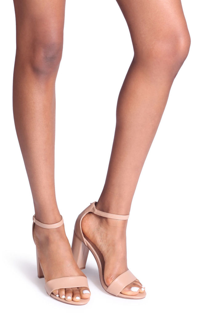 Nelly Barely There Block Heels in Mocha Nappa by Linzi