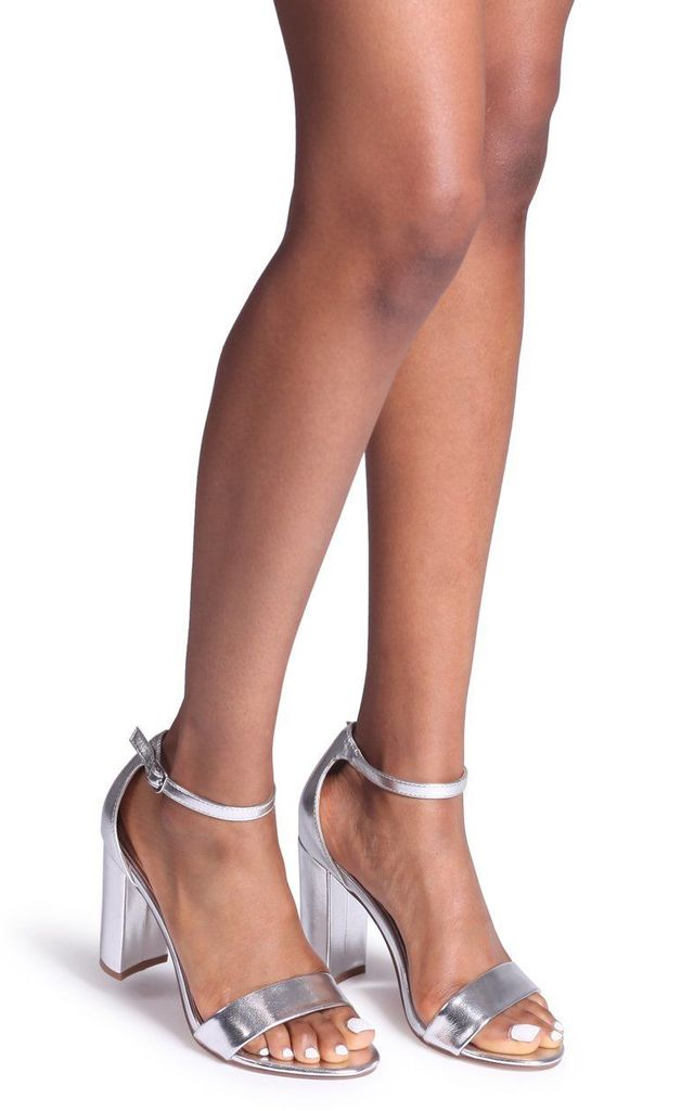 Nelly Barely There Block Heels in Silver by Linzi