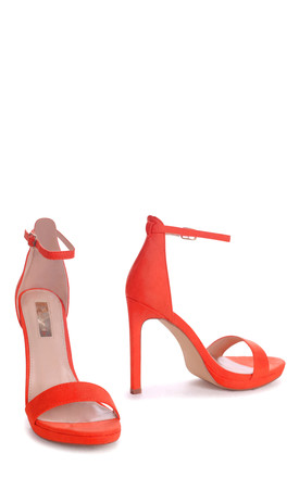 Gabriella Barely There Stiletto Heels in Orange Suede by Linzi